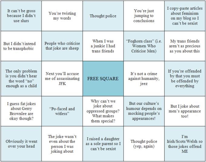 misandry bingo